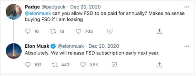 Elon FSD Subs tweet
